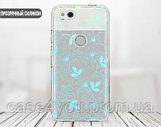 Силиконовый чехол для Apple Iphone XS (Небесный цветочный узор), фото 2