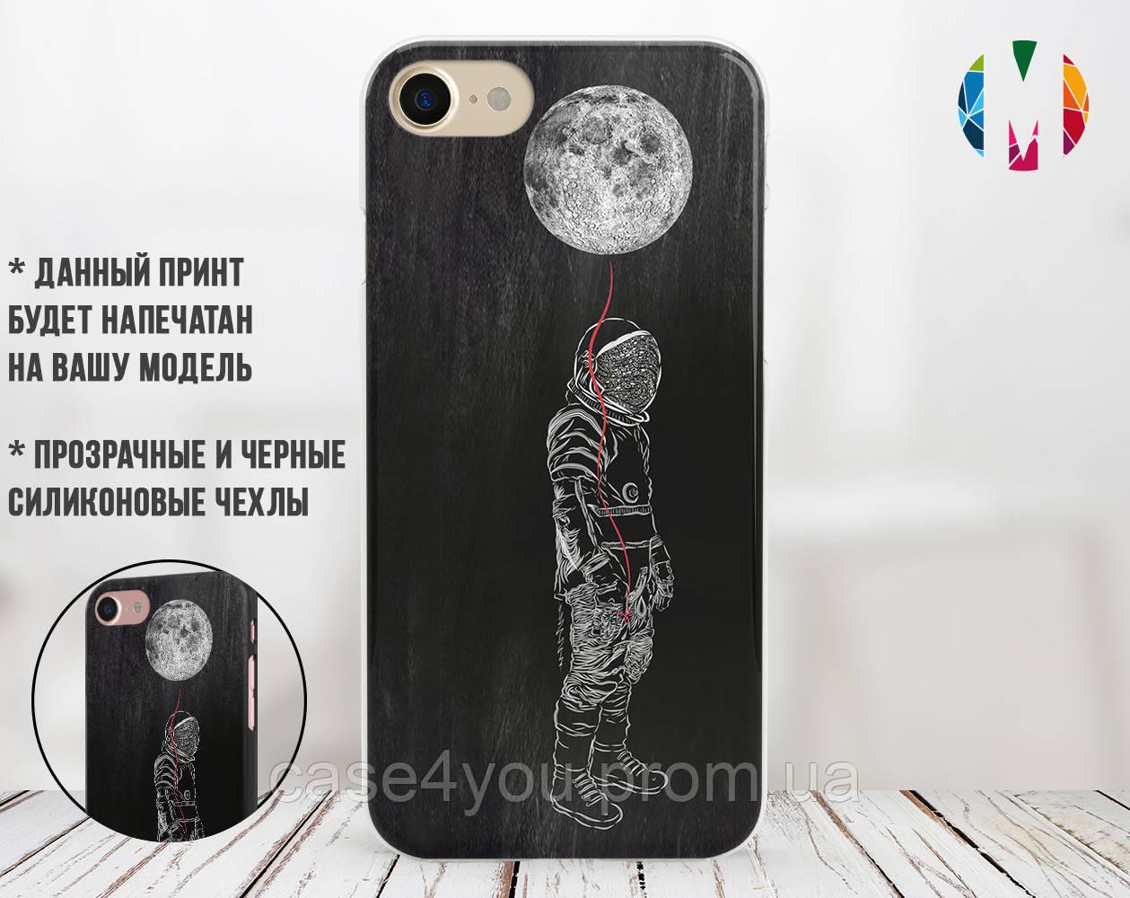 Силиконовый чехол для Apple Iphone XS Max (Космонавт на луне)