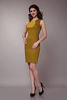 Платье  двухцветное оливково-горчичное
