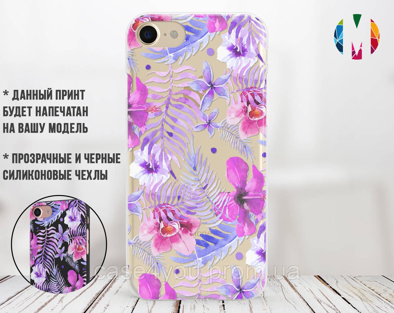 Силиконовый чехол для Apple Iphone XS Max (Фиолетовые цветы)