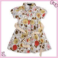 Детское хлопковое летнее платье с цветами