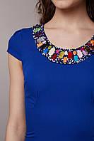 Платье синее с декором ручной работы