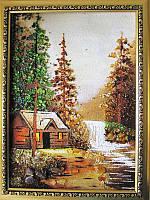 Картина из янтаря Дом и водопад (Картины и иконы из янтаря)