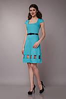 Платье бирюзовое с квадратным вырезом