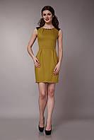 Платье летнее с кружевной вставкой горчичное