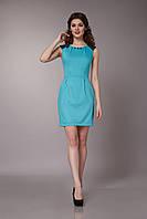Платье летнее с кружевной вставкой бирюзовое