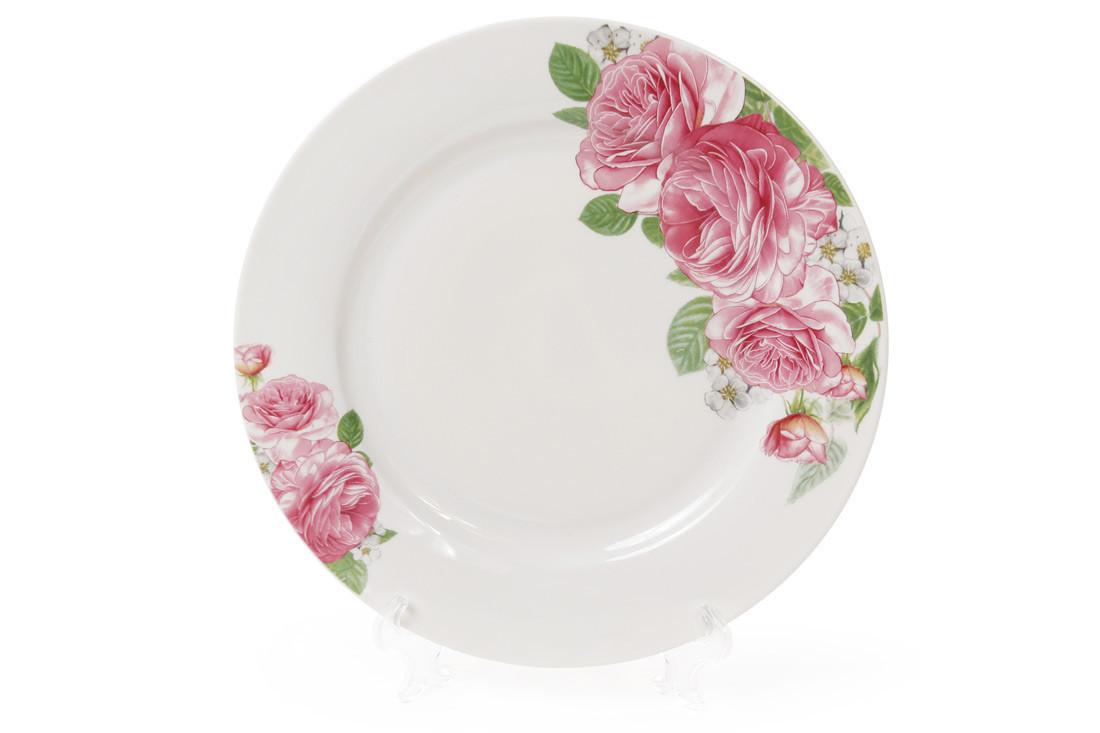 """Тарелка десертная """"Розовые розы"""" 19см керамика"""