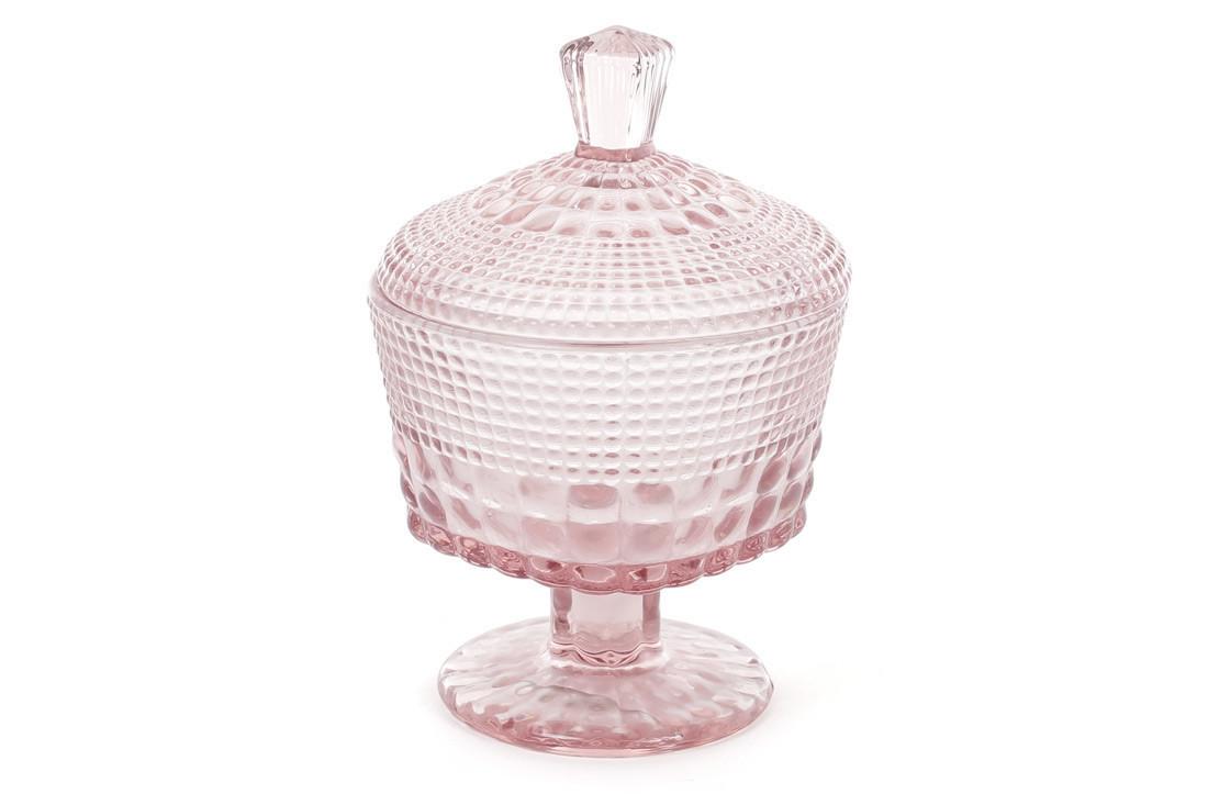 Сахарница стекло на ножке 250мл (цвет - розовый)