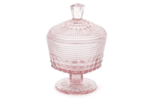 Сахарница стекло на ножке 250мл (цвет - розовый), фото 2