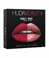 Уценка Набор из 4 мини-помад Huda Beauty Matte and Strobe Heartbreaker Set - примятая упаковка