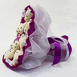 Букет из игрушек Мишки 9 фуксия 5351IT, фото 2