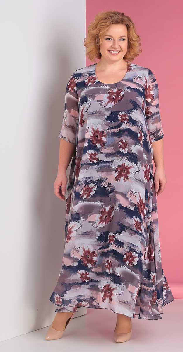 Платье Novella Sharm-3176-5 белорусский трикотаж, бежевый+цветы, 60