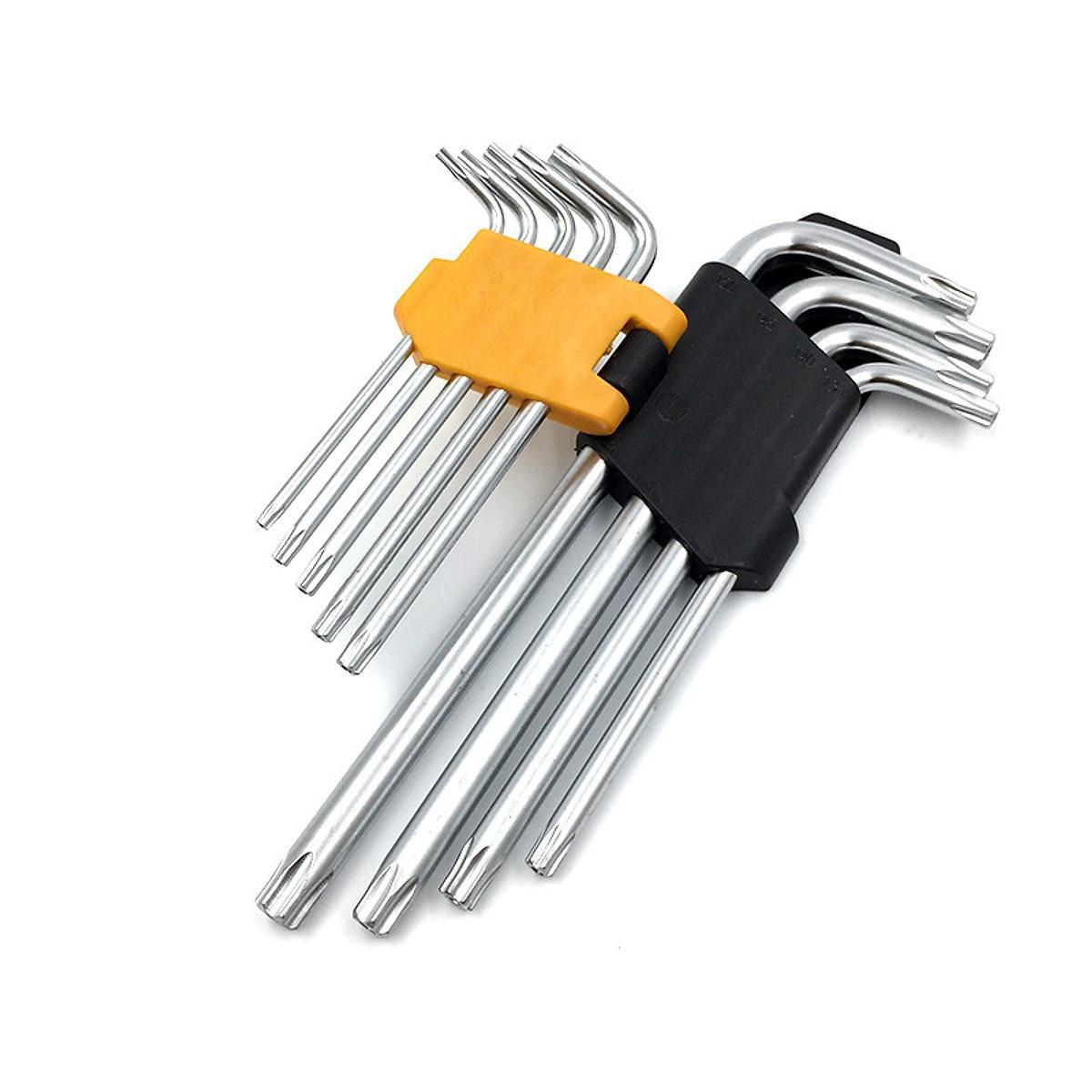 Набор Г-образных шестигранных ключей TORX с отверстием  Tolsen 9 шт Т10-Т50 Cr-V (20056)