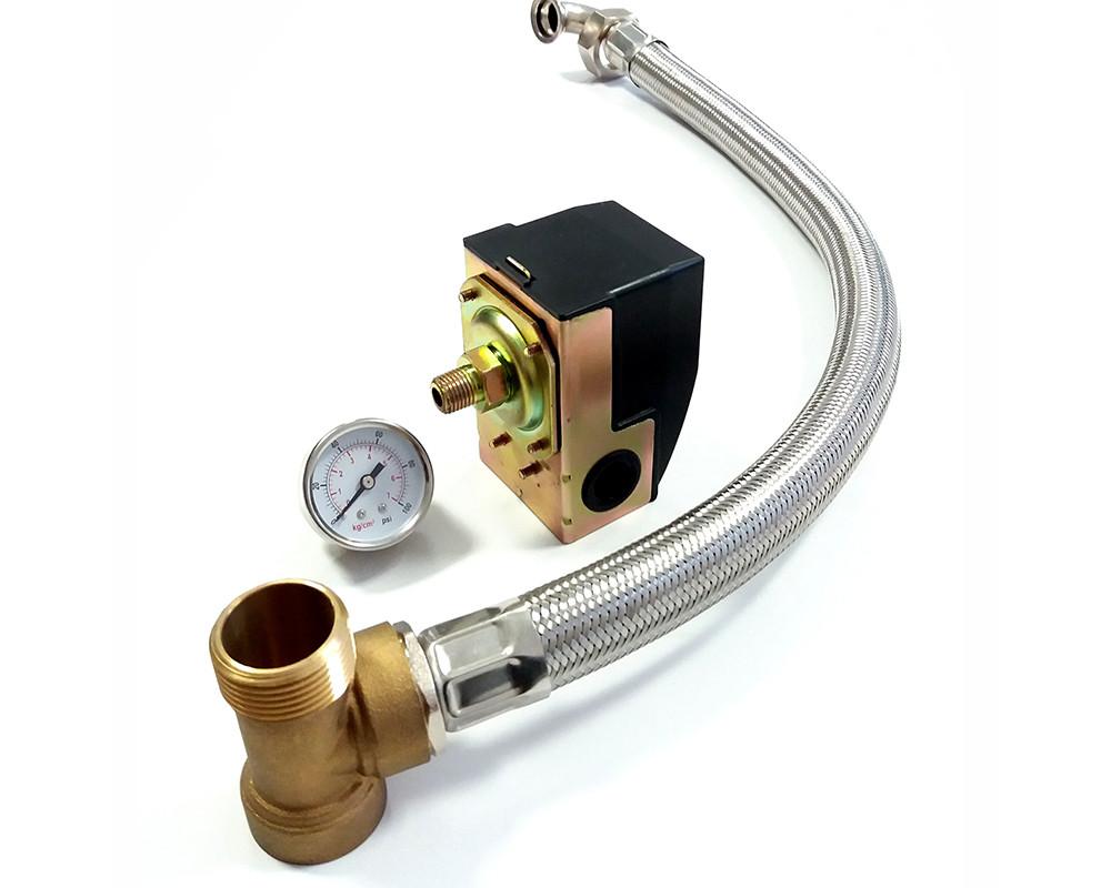 Комплект реле давления PS-02А + фитинг 3-х выводной + манометр + шланг 60 см