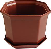 Вазон Дама 16 2,45 л коричневый