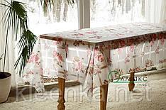 Клеёнка-скатерть силиконовая на кухонный стол с цветочным принтом