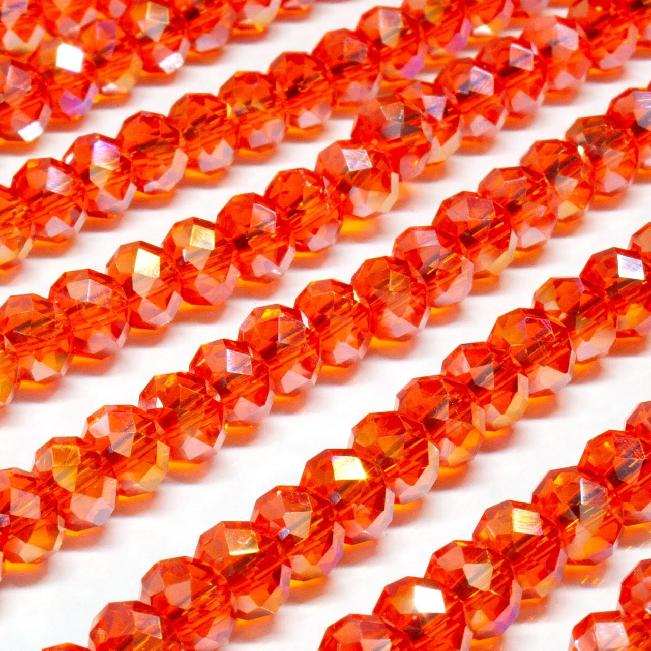 Бусины хрустальные (Рондель)  6х4мм пачка - 95-105 шт, цвет - оранж прозрачный с АБ