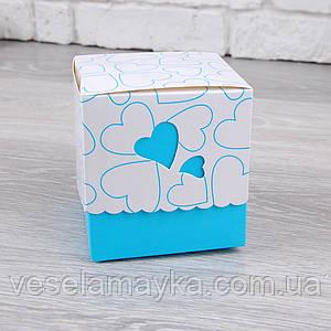Картонная упаковка для чашки (Синие сердце)