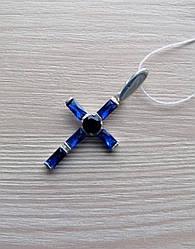 Крестик серебряный с синими камнями