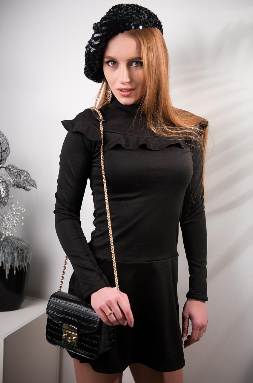 d436ff27f0e Женское трикотажное платье с рюшами Черный - Интернет-магазин одежды  Lagracia в Харькове