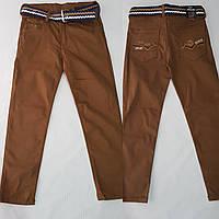 Штани для хлопчика 3-7 років гірчичного кольору з поясом оптом