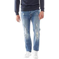 Мужские зауженные джинсы с потертостями JACK AND JONES синие оригинал