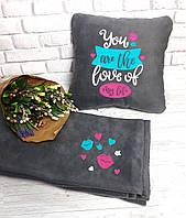 """Романтический набор """"Ты любовь всей моей жизни"""": подушка + флисовый плед, фото 1"""