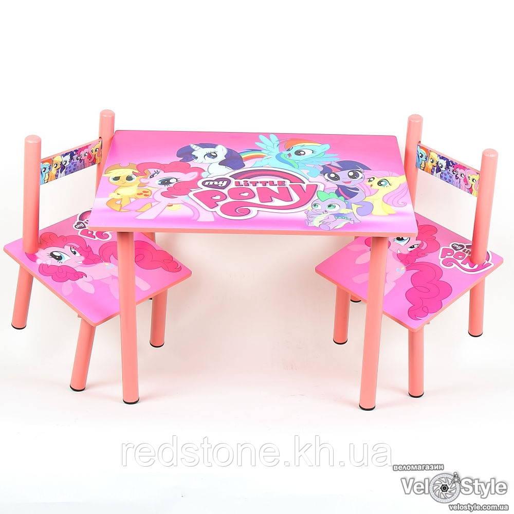 Набор детской деревянной мебели Столик + 2 стульчика My little Pony