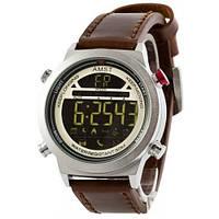Чоловічий наручний годинник AMST 3017 з коричневим ремінцем Срібно-Білий (SUN3350)