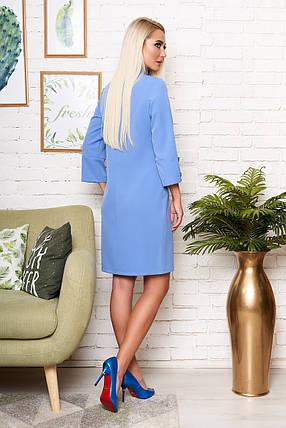 Стильное платье средней длины полуприталенное рукав три четверти голубого цвета, фото 2