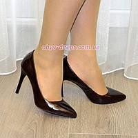 Туфли женские на высоком каблуке, коричневая кожа. В наличии 35,36,40 размеры