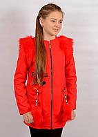 Пальто для девочки 9-11 лет с мехом красное