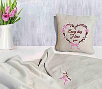 """Романтический набор """"Каждый день..."""": подушка + флисовый плед, фото 1"""