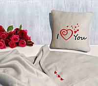 "Романтический набор ""Я люблю тебя"": подушка + флисовый плед, фото 1"