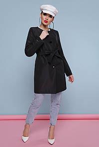 Модный женский черный плащ с поясом