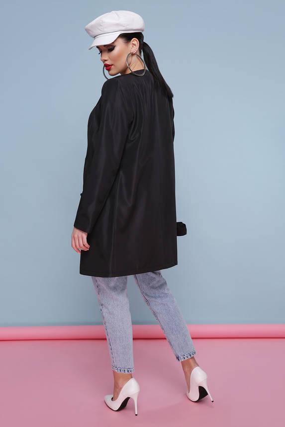Модный женский черный плащ с поясом, фото 2