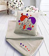 """Романтический набор """"Привет осень..."""": подушка + флисовый плед, фото 1"""