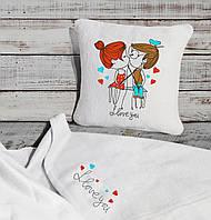 "Романтический набор ""Люблю тебя..."": подушка + флисовый плед, фото 1"