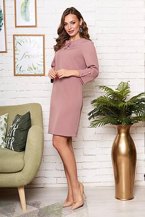 Модное платье средней длины прямого кроя рукав три четверти цвет какао, фото 2