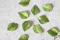Декоративные листики из ткани 10 шт. зеленого цвета 3х2 см, фото 1