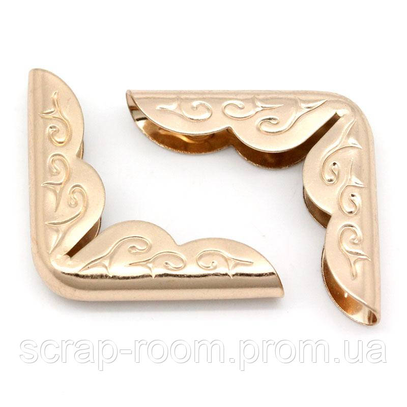 Уголки для альбомов золото 30*21 мм, золотые уголки, металлические уголки, уголки защитные