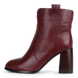 Стильнные бордовые демисезонные женские ботинки A-Vani на каблуке