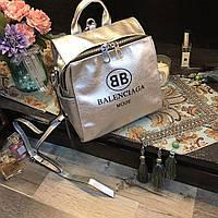 Сумка-рюкзак копия Balenciaga Баленсиага качественная эко-кожа дорогой Китай цвет серебрянный