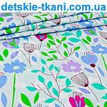 "Лоскут ткани ""Сиреневые цветочки с зелёными веточками""  № 972а, фото 2"