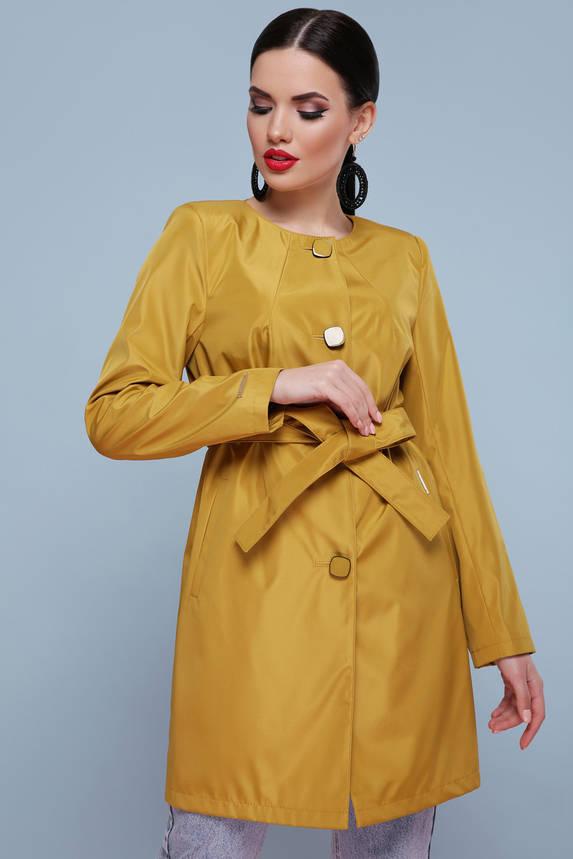 Нарядный весенний женский плащ с поясом золотой, фото 2