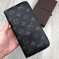 Брендовый женский кошелек Louis Vuitton LV черный клатч кожа PU на молнии портмоне Луи Виттон люкс реплика, фото 1