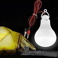 Лампа светодиодная 12 Вольт 9 Ватт с удлинителем и «крокодилами»