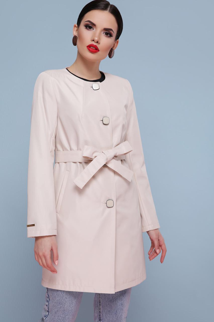 Нарядный женский плащ розовый с поясом весна-осень