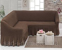 Чехол на угловой диван серо-коричневый