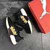 Puma мужские кроссовки черные с желтым замшевые (Реплика ААА+)